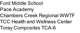 Ford Middle School Pace Academy Chambers Creek Regional WWTF TCC Health and Wellness Center Toray Composites TCA-6